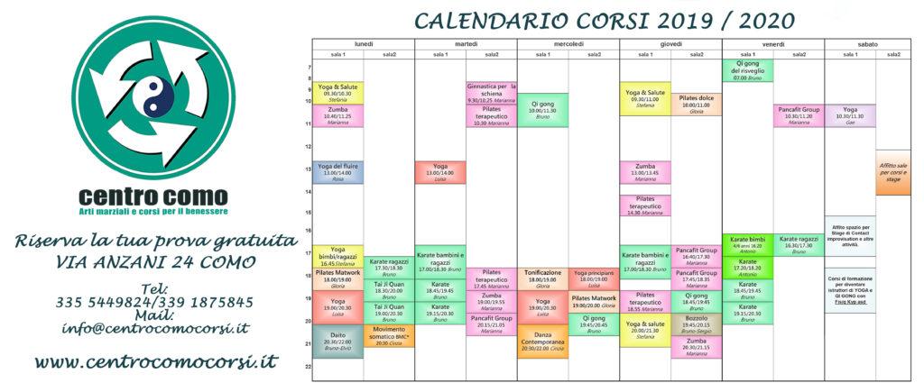 Calendario Appunti 2019.Nuovo Calendario 2019 2020 Centro Como Corsi